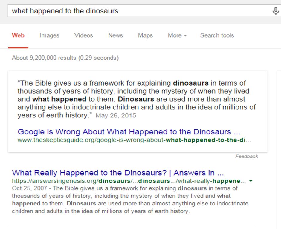 Google dinosaur results